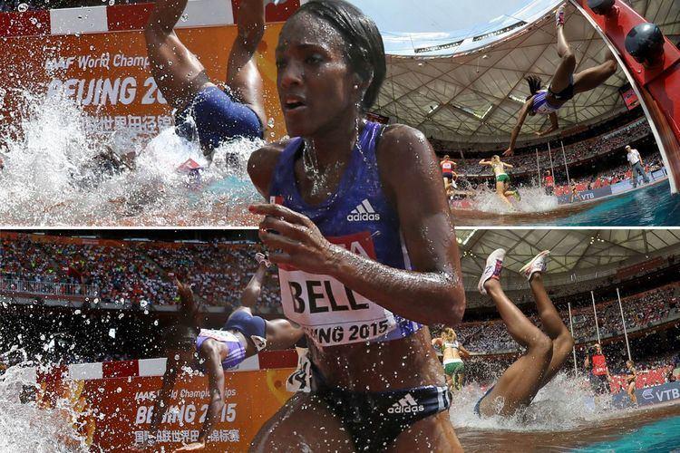Rolanda Bell Steeplechase runner falls HEAD FIRST into water jump