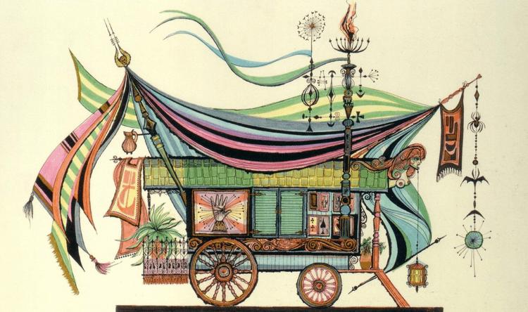 Rolly Crump Mattropolitan Design for a gypsy cart by Imagineer Rolly