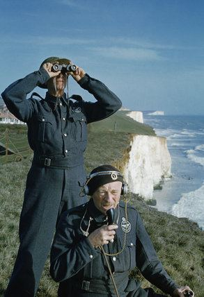 Royal Observer Corps Two men of the Royal Observer Corps on a cliff top near Dover 1943