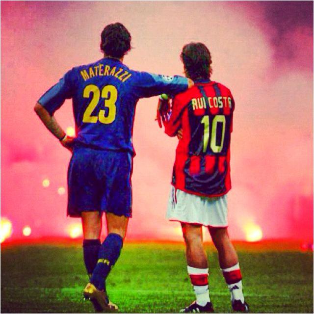 Rui Costa Marco Materazzi Inter Milan and Rui Costa AC Milan watching on