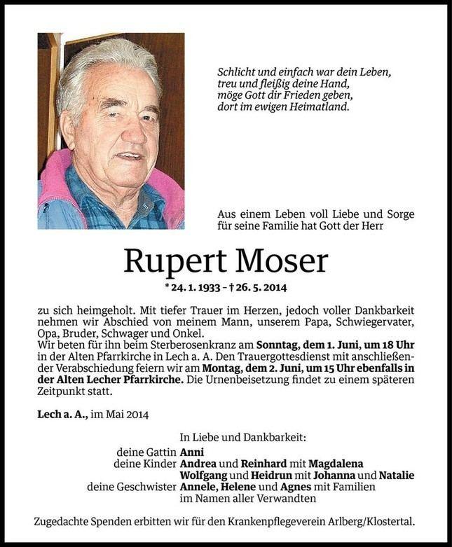 Rupert Moser Rupert Moser Todesanzeige VN Todesanzeigen