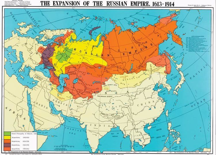 Russian Empire The Expansion of the Russian Empire 16131914 History Map
