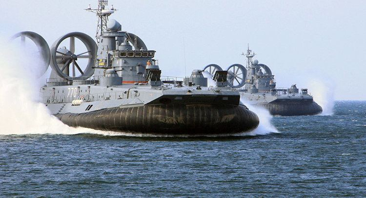 Russian Navy Monster Military Hovercraft Assaults the Waves During Russian Navy