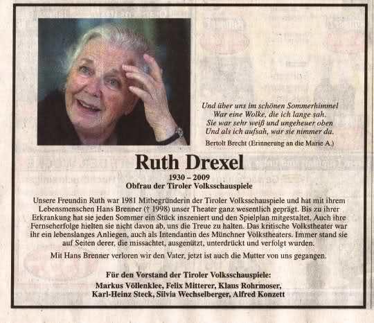 Ruth Drexel Focours Kulturforum Literatur Film und Fernsehen Ruth