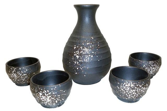 Sake set Speckled stoneware sake set Tengu Sake