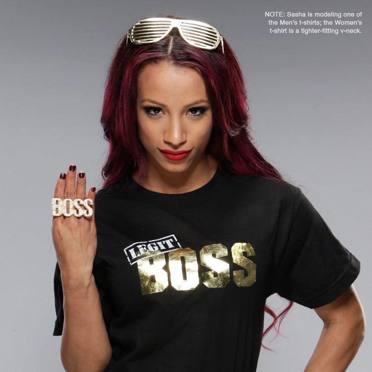 Sasha Banks Sasha Banks quotLegit BOSSquot Women39s VNeck Authentic TShirt