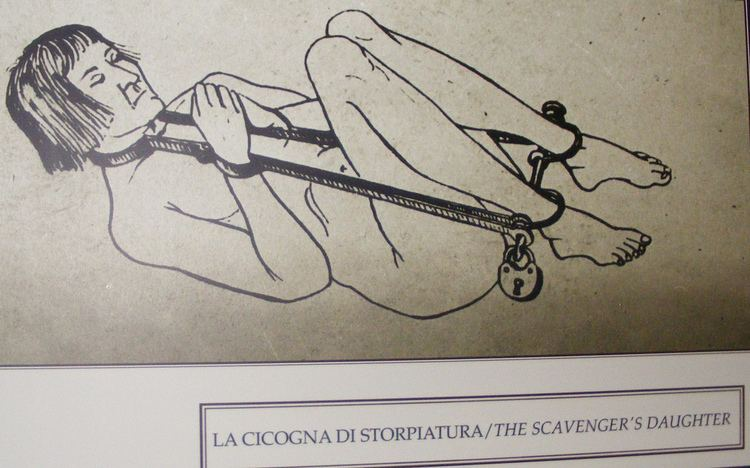 Sketch of a woman being tortured by a Scavenger's daughter