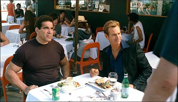 Seeing Stars (film) movie scenes The most famous scene in the movie seen in all of the trailers is where Sydney confronts Lou The Hulk Ferrigno at an outdoor cafe