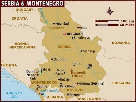 Serbia and Montenegro Map of Serbia amp Montenegro
