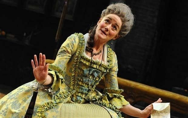 She Stoops to Conquer movie scenes Sophie Thompson as Mrs Hardcastle in She Stoops to Conquer at the National Theatre