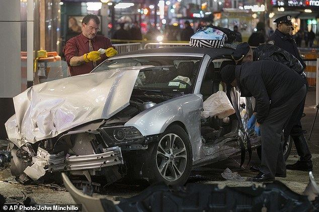 Sidewalk (magazine) movie scenes Police search a car at the scene of the crash on 34th Street New York