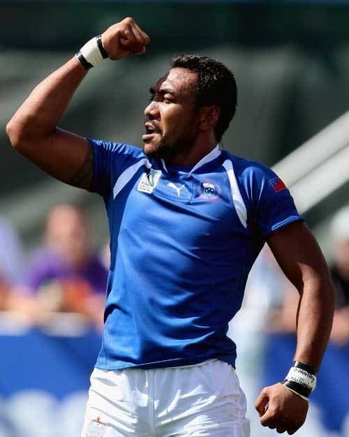 Simaika Mikaele Samoas Simaika Mikaele celebrates scoring a try Rugby Union