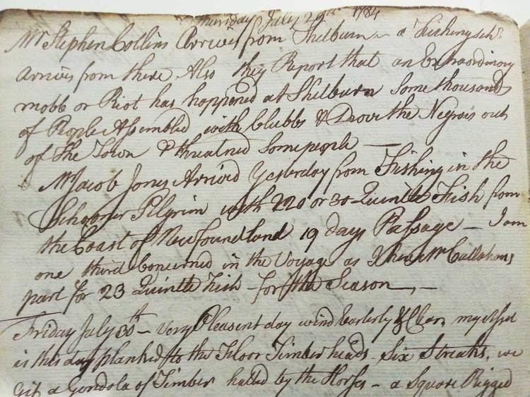 Simeon Perkins Simeon Perkins Diary Entries Queens County Museum
