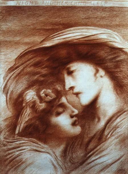Simeon Solomon Night and Her Child Sleep Simeon Solomon as art print or