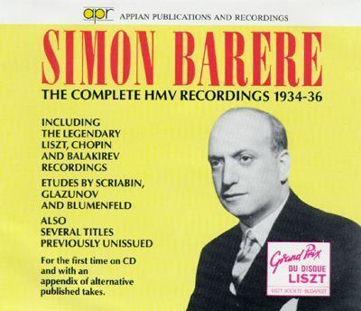 Simon Barere Simon Barere The Complete HMV Recordings 193436