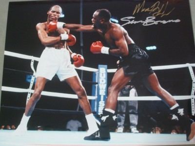 Simon Brown (boxer) Simon Brown And Maurice Blocker Dual Signed Action Shot Photo From