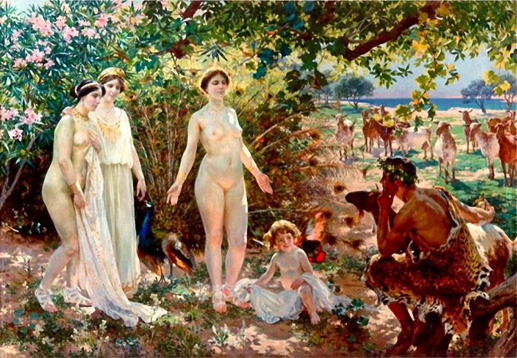 Skona Helena movie scenes El Juicio de Paris by Enrique Simonet c 1904 This painting depicts Paris judgement He is inspecting Aphrodite who is standing naked before him