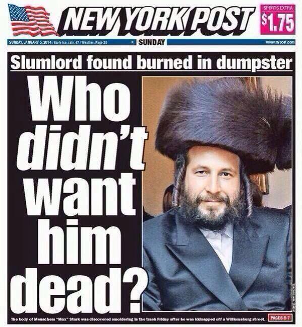Slumlord NY Post Cover Of Murdered Jewish 39Slumlord39 Gets Huge Backlash