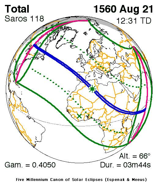 Solar eclipse of August 21, 1560