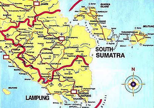 SOUTH SUMATRA THE INDONESIA TOURISM MAP
