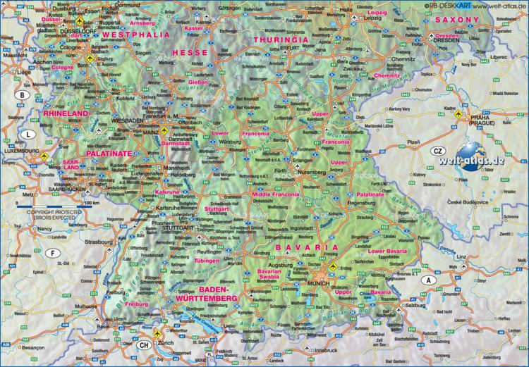 Southern Germany Map of Southern Germany Gemany Map in the Atlas of the World