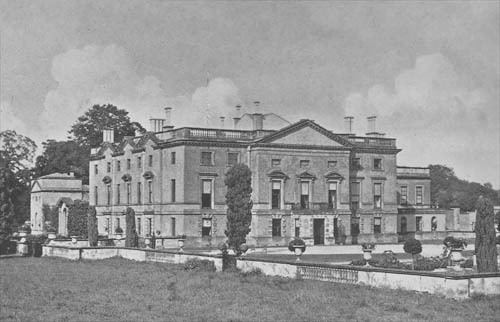 An old portrait showing Stanwick Hall in Northamptonshire, England.