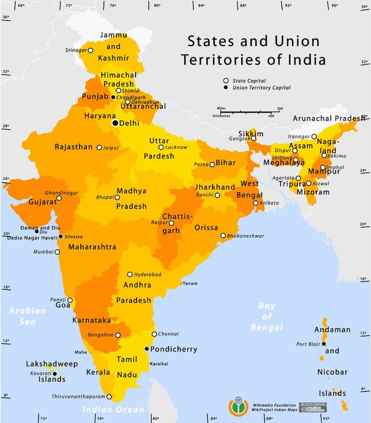 States and union territories of India State and union territories India map Maps of India