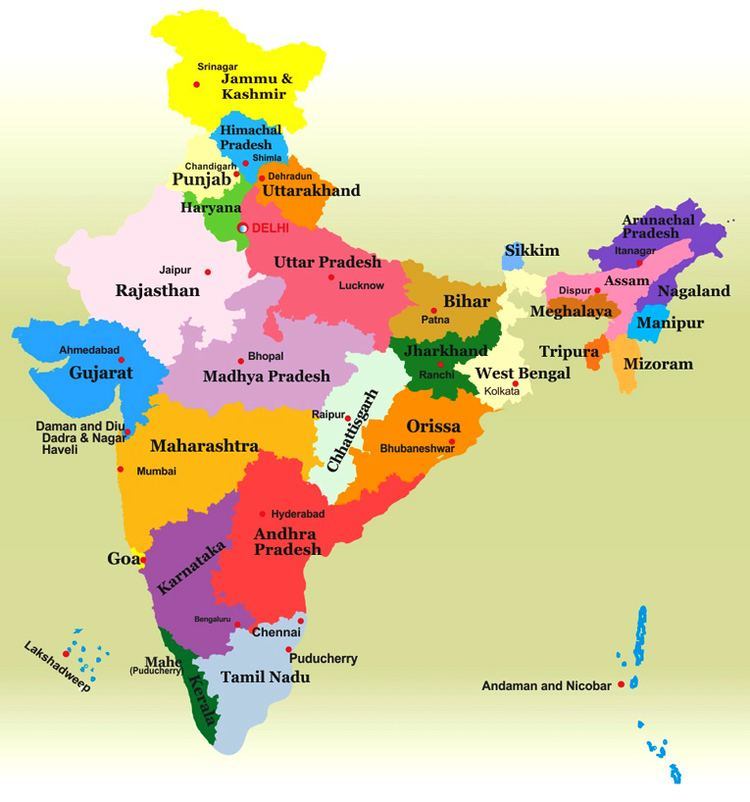 States and union territories of India wwwincredibleindiatournetimagesstatemap2jpg