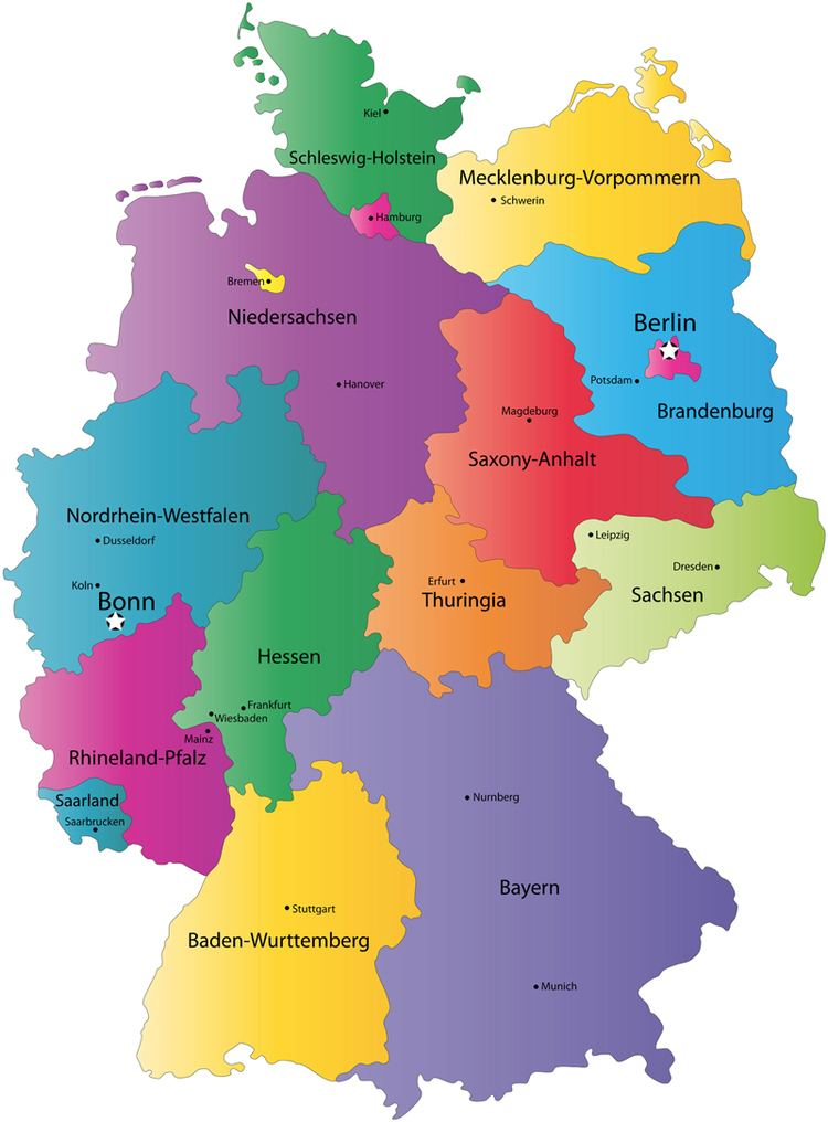 States of Germany German States and State Capitals Map States of Germany