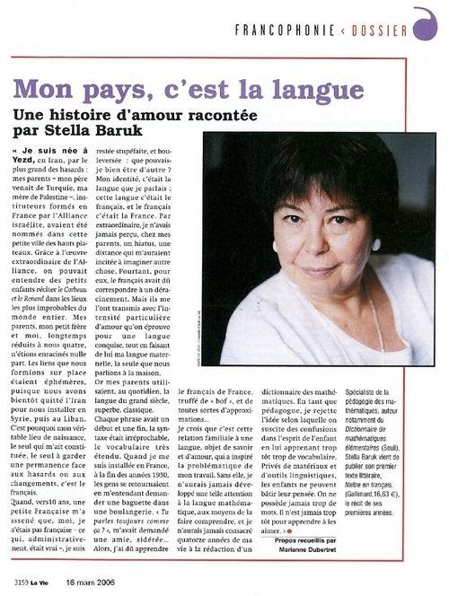 Stella Baruk Entretien avec Stella Baruk Le Fil du bilingue