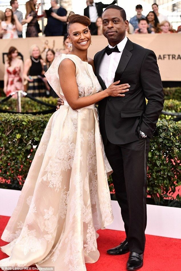 Sterling K. Brown SAG Awards 2017 Sterling K Brown puckers up to wife Daily Mail Online