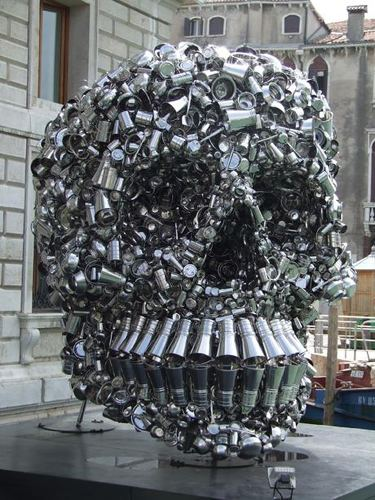 Subodh Gupta Giant Skull Made of Pots and Pans RecycleNation