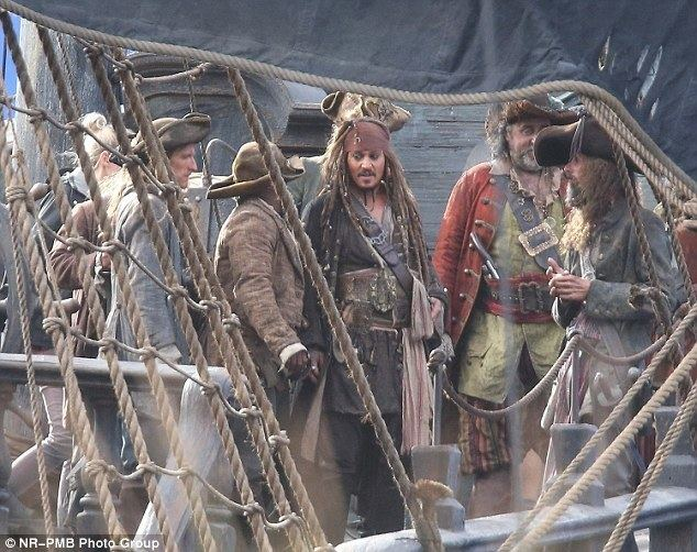 Swings or Roundabouts movie scenes Arrr Johnny Depp dressed as Captain Jack Sparrow and crew filming new scenes for Pirates
