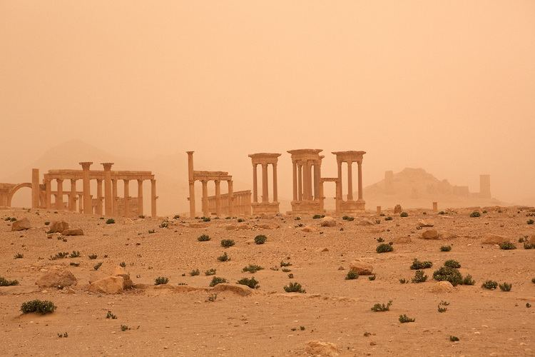 Syrian Desert Palmyra ruins seen through settling dust just after a sandstorm