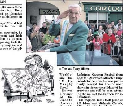Terry Willers Sad farewell to cartoonist Terry Independentie
