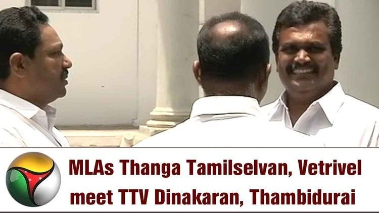 Thanga Tamil Selvan MLAs Thanga Tamilselvan Vetrivel meet TTV Dinakaran Thambidurai