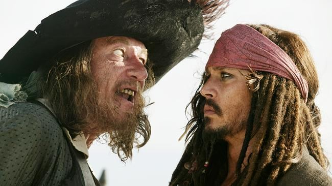 The Black Pirate movie scenes Captain Barbossa Geoffrey Rush and Captain Jack Sparrow Johnny Depp in a scene from Pirates of the Caribbean Source Supplied