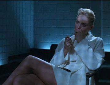 The Broken Spur movie scenes Sharon Stone as Catherine Tramell archetypal modern femme fatale in the smash box office hit Basic Instinct 1992 Her diabolic nature is underscored by