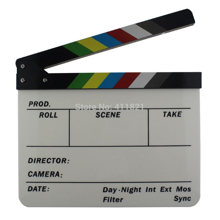 The China Plate movie scenes Colorful Acrylic Clapperboard Plates Director Movie Cut Action Scene Clapper Board Slate wooden 30cm x 25cm