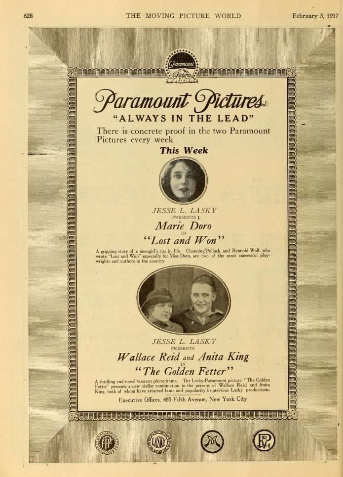 The Golden Fetter Feb1917 The Golden Fetter movie ad starring Wallace Reid Wallace