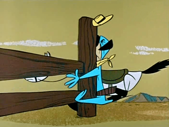 The Good, the Bad, and Huckleberry Hound movie scenes We fade into the next scene and Huck is riding the horse Huck hits the horse with a switch to get him to go faster The horse stops turns and tells him