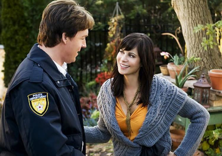 The Good Witchs Garden movie scenes Catherine Bell with Chris Potter in a scene from The Good Witch s Garden