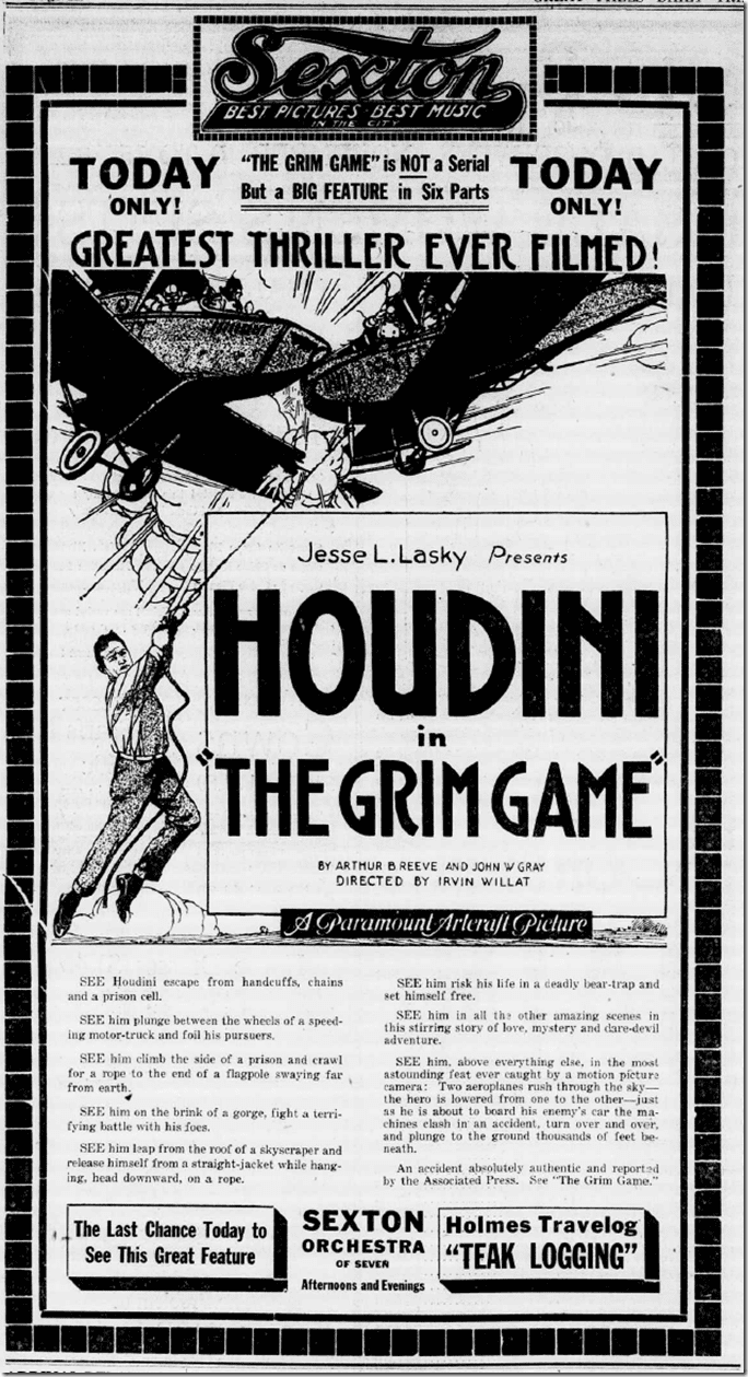 The Grim Game Films of Harry Houdini The Grim Game 1919 Monster Movie Kid