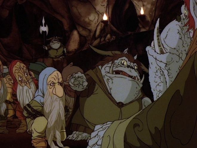 The Hobbit (1977 film) movie scenes Thorin and Company captured by goblins Copyright 1977 Rankin Bass Productions Inc and Warner Home Video