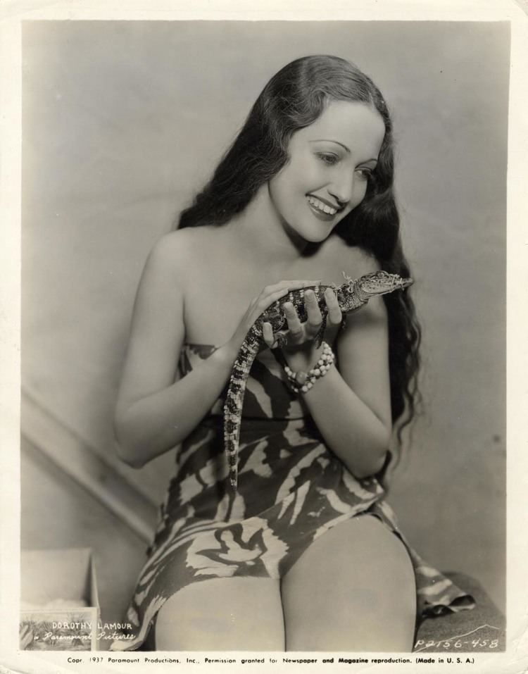 The Jungle Princess Portrait of Dorothy Lamour with Baby Alligator in The Jungle