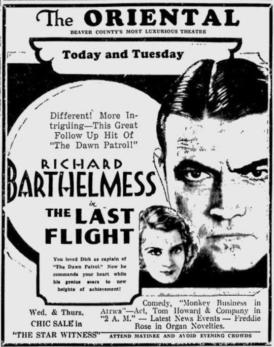 The Last Flight (1931 film) The Last Flight 1931 John Monk Saunders Hijacks the Lost