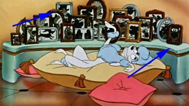The Missing Mouse movie scenes Oliver Company Ratigan from The Great Mouse Detective and Scooby Doo are hidden among the photos in the Perfect Isn t Easy scene