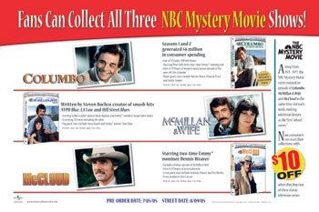 The NBC Mystery Movie Site News DVD news NBC Mystery Movie Promotion For Columbo McCloud