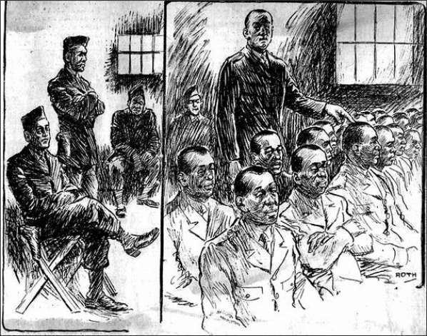 The Negro Soldier movie scenes 25 1944 The pen of Henry Roth Post Intelligencer staff artist portrays two scenes at the general court martial of 42 Negro soldiers charged with rioting