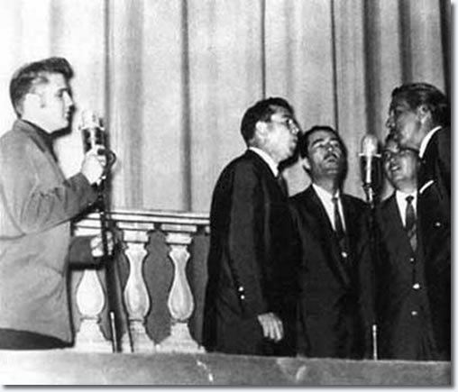 The Statesmen Quartet performs with The Statesman Quartet at Ellis Auditorium July 27 1956